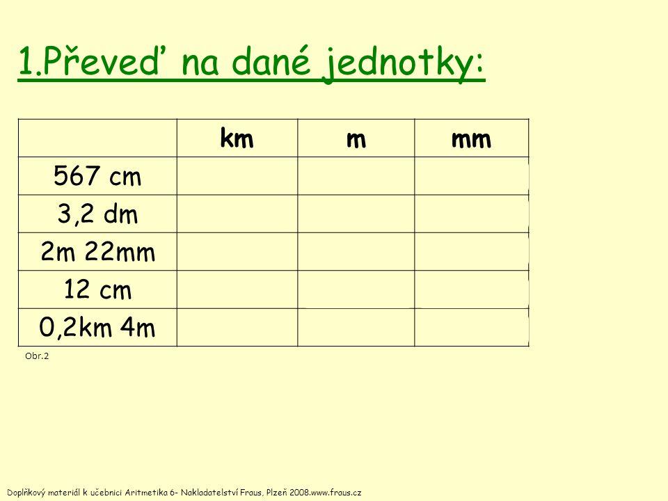 1.Převeď na dané jednotky: kmmmm 567 cm 0,005675,675670 3,2 dm 0,000 320,32320 2m 22mm 0,002 0222,0222022 12 cm 0,000 120,12120 0,2km 4m 0,204204 204 000 Doplňkový materiál k učebnici Aritmetika 6- Nakladatelství Fraus, Plzeň 2008.www.fraus.cz Obr.2