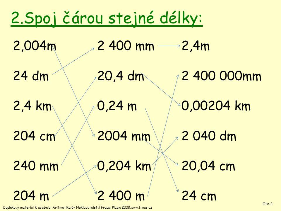 2.Spoj čárou stejné délky: 2,004m2 400 mm2,4m 24 dm20,4 dm2 400 000mm 2,4 km0,24 m0,00204 km 204 cm2004 mm2 040 dm 240 mm0,204 km20,04 cm 204 m2 400 m24 cm Doplňkový materiál k učebnici Aritmetika 6- Nakladatelství Fraus, Plzeň 2008.www.fraus.cz Obr.3