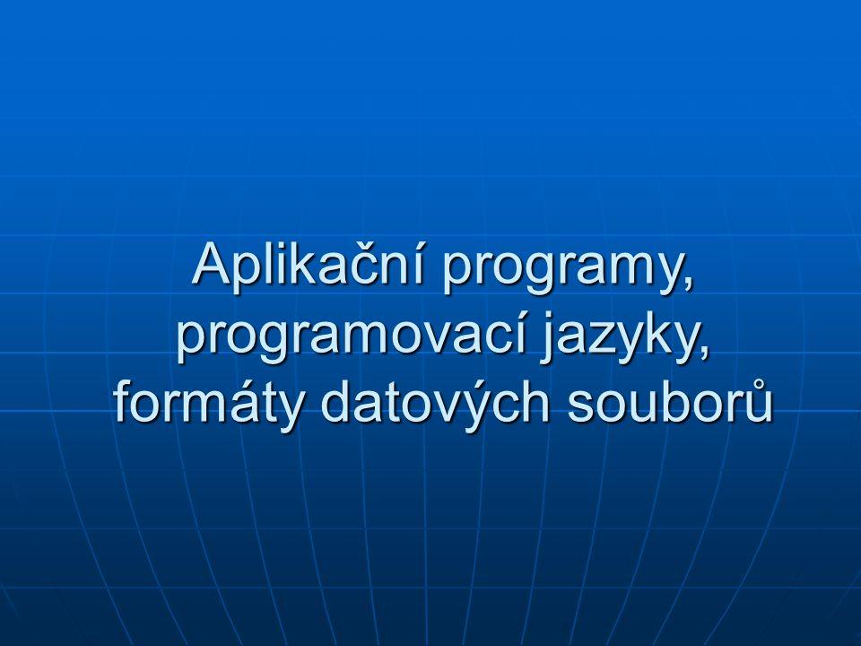 Aplikační software je v informatice veškeré programové vybavení počítače Aplikační software je v informatice veškeré programové vybavení počítače umožňuje provádět nějakou užitečnou činnost (řešení konkrétního problému, interaktivní tvorbu uživatele apod.) umožňuje provádět nějakou užitečnou činnost (řešení konkrétního problému, interaktivní tvorbu uživatele apod.) Aplikace využívají pro interakci s uživatelem grafické(okna na monitoru zobrazují svůj výstup) nebo textové rozhraní(textový režim se zapisují znaky), případně příkazový řádek.