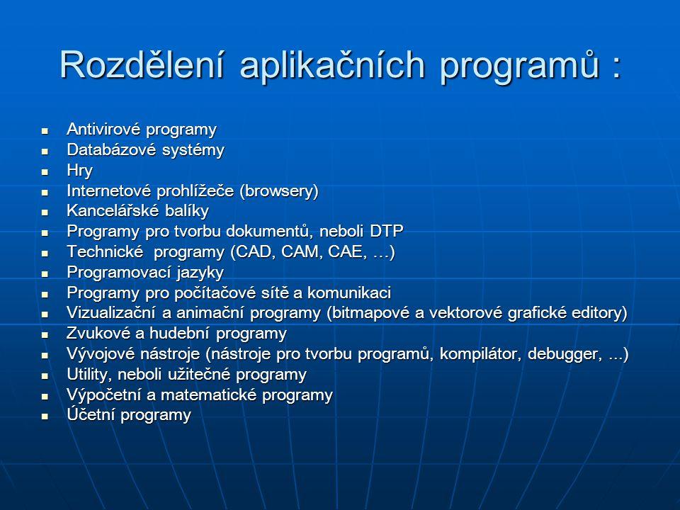 Rozdělení aplikačních programů : Antivirové programy Antivirové programy Databázové systémy Databázové systémy Hry Hry Internetové prohlížeče (browser