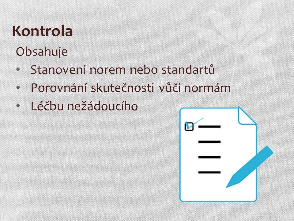 Kontrola Obsahuje Stanovení norem nebo standartů Porovnání skutečnosti vůči normám Léčbu nežádoucího