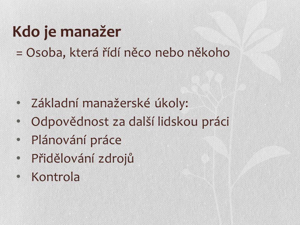 Kdo je manažer = Osoba, která řídí něco nebo někoho Základní manažerské úkoly: Odpovědnost za další lidskou práci Plánování práce Přidělování zdrojů Kontrola