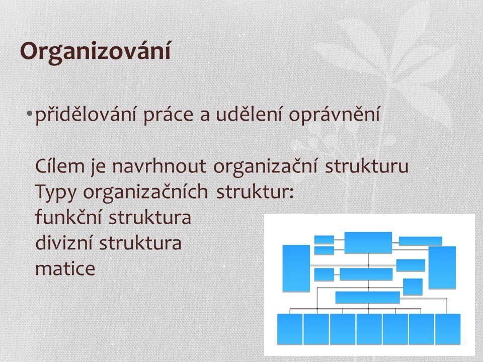 Organizování přidělování práce a udělení oprávnění Cílem je navrhnout organizační strukturu Typy organizačních struktur: funkční struktura divizní struktura matice