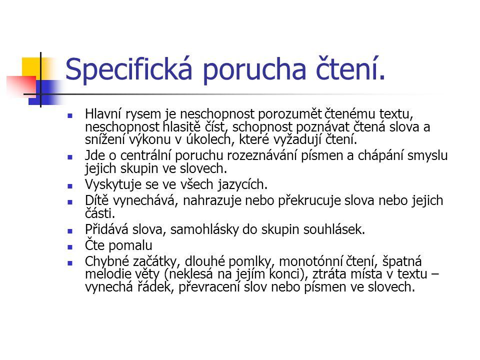 Specifická porucha čtení. Hlavní rysem je neschopnost porozumět čtenému textu, neschopnost hlasitě číst, schopnost poznávat čtená slova a snížení výko