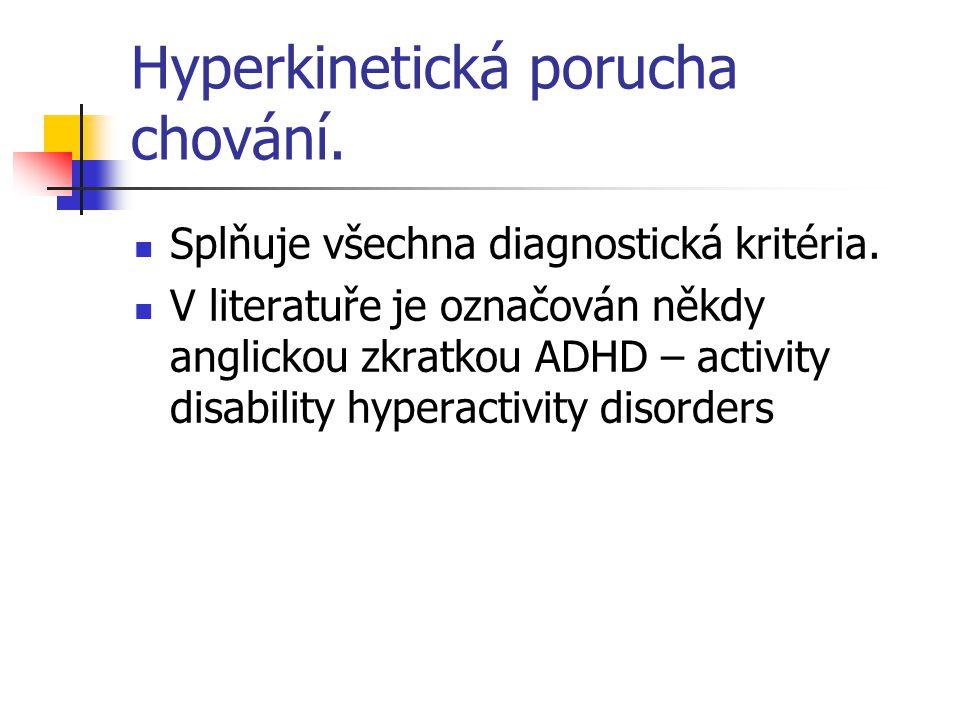 Hyperkinetická porucha chování. Splňuje všechna diagnostická kritéria. V literatuře je označován někdy anglickou zkratkou ADHD – activity disability h