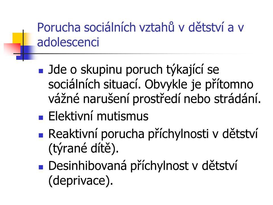 Porucha sociálních vztahů v dětství a v adolescenci Jde o skupinu poruch týkající se sociálních situací.