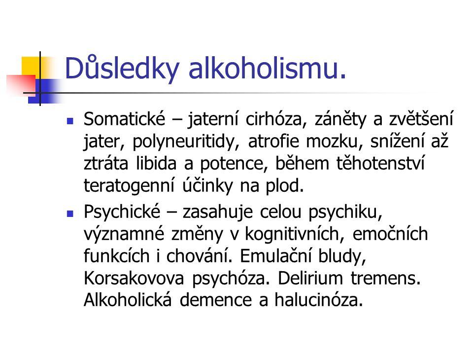 Důsledky alkoholismu. Somatické – jaterní cirhóza, záněty a zvětšení jater, polyneuritidy, atrofie mozku, snížení až ztráta libida a potence, během tě