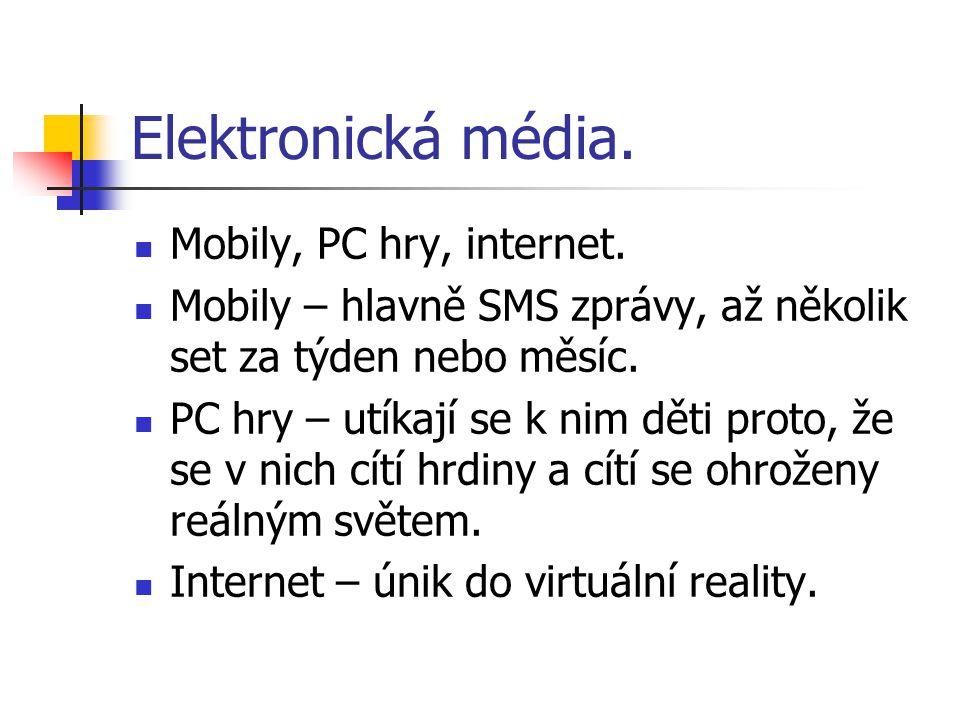Elektronická média. Mobily, PC hry, internet. Mobily – hlavně SMS zprávy, až několik set za týden nebo měsíc. PC hry – utíkají se k nim děti proto, že