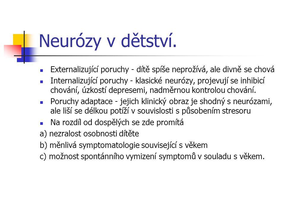 Neurózy v dětství. Externalizující poruchy - dítě spíše neprožívá, ale divně se chová Internalizující poruchy - klasické neurózy, projevují se inhibic