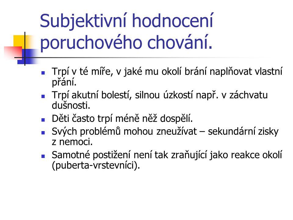 Subjektivní hodnocení poruchového chování.