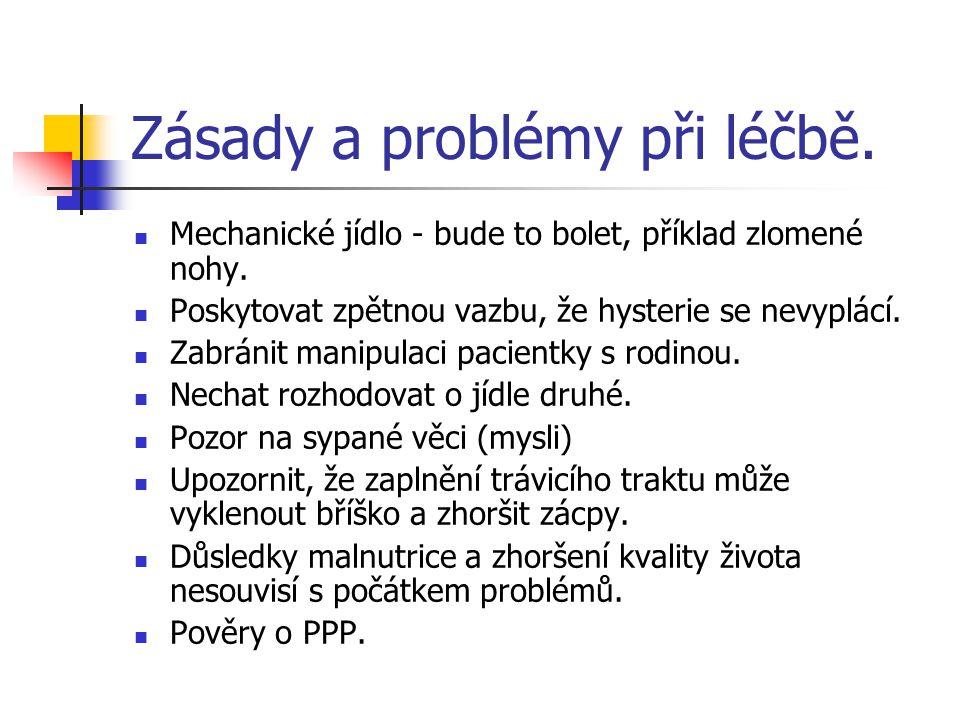 Zásady a problémy při léčbě.Mechanické jídlo - bude to bolet, příklad zlomené nohy.