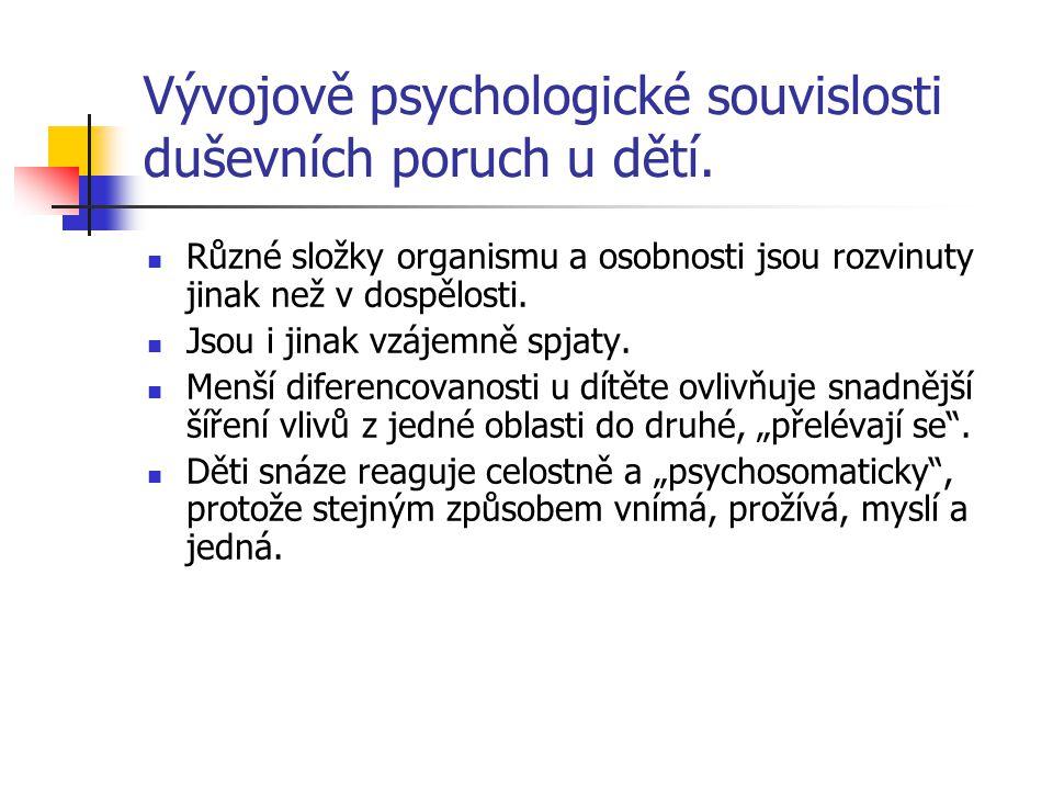 Vývojově psychologické souvislosti duševních poruch u dětí. Různé složky organismu a osobnosti jsou rozvinuty jinak než v dospělosti. Jsou i jinak vzá