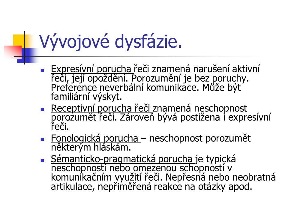 Vývojové dysfázie.Expresívní porucha řeči znamená narušení aktivní řeči, její opoždění.