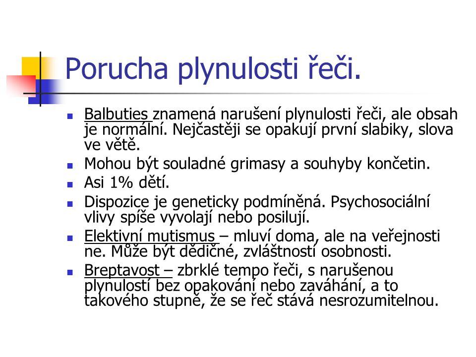 Porucha plynulosti řeči.Balbuties znamená narušení plynulosti řeči, ale obsah je normální.