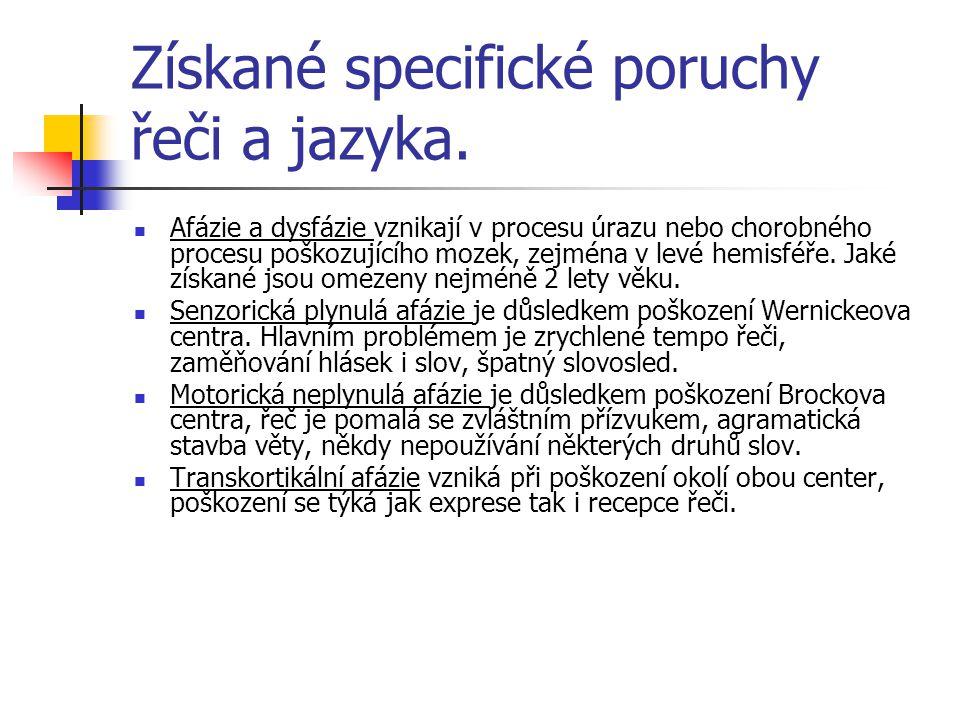 Získané specifické poruchy řeči a jazyka. Afázie a dysfázie vznikají v procesu úrazu nebo chorobného procesu poškozujícího mozek, zejména v levé hemis