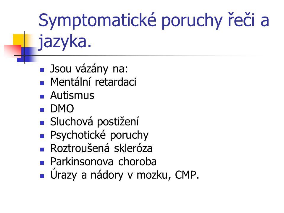 Symptomatické poruchy řeči a jazyka. Jsou vázány na: Mentální retardaci Autismus DMO Sluchová postižení Psychotické poruchy Roztroušená skleróza Parki