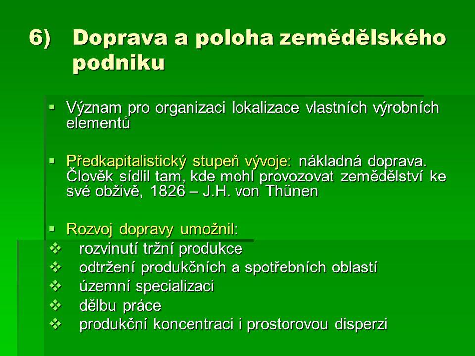 6) Doprava a poloha zemědělského podniku  Význam pro organizaci lokalizace vlastních výrobních elementů  Předkapitalistický stupeň vývoje: nákladná
