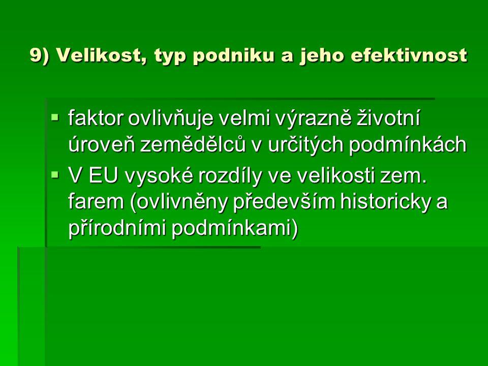 9) Velikost, typ podniku a jeho efektivnost  faktor ovlivňuje velmi výrazně životní úroveň zemědělců v určitých podmínkách  V EU vysoké rozdíly ve v