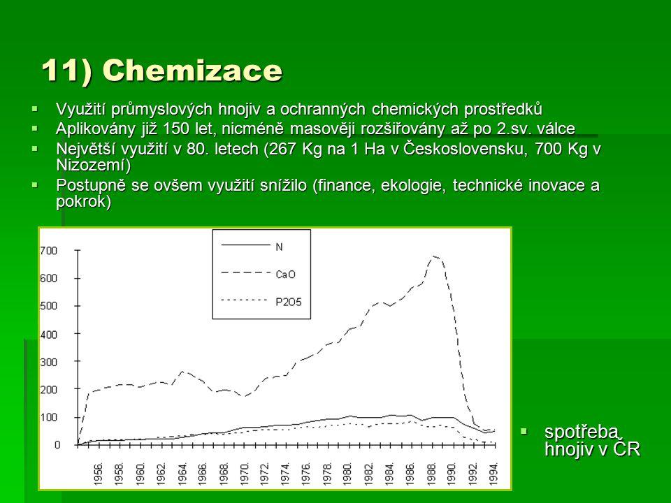11) Chemizace  Využití průmyslových hnojiv a ochranných chemických prostředků  Aplikovány již 150 let, nicméně masověji rozšiřovány až po 2.sv. válc