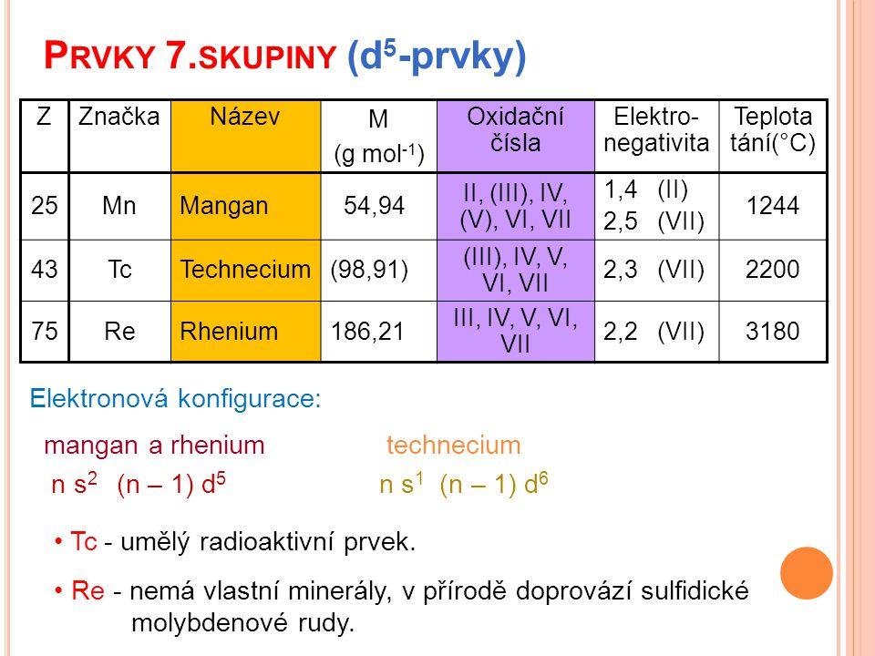 P RVKY 7. SKUPINY (d 5 -prvky) Tc - umělý radioaktivní prvek. Re - nemá vlastní minerály, v přírodě doprovází sulfidické molybdenové rudy. ZZnačkaNáze