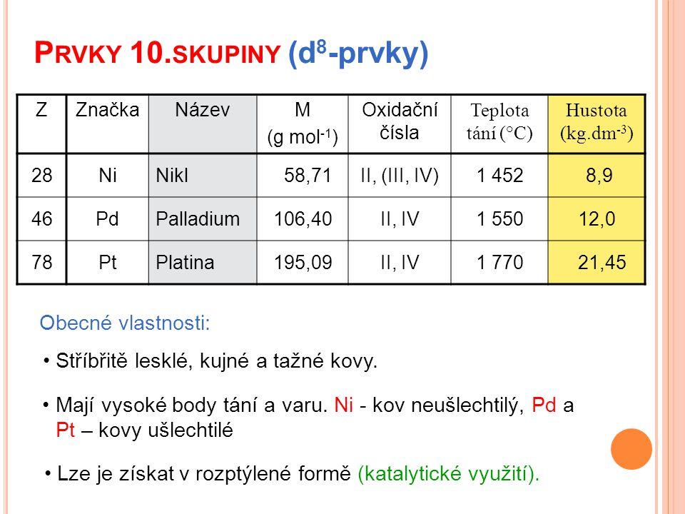 P RVKY 10. SKUPINY (d 8 -prvky) Obecné vlastnosti: Mají vysoké body tání a varu. Ni - kov neušlechtilý, Pd a Pt – kovy ušlechtilé Stříbřitě lesklé, ku