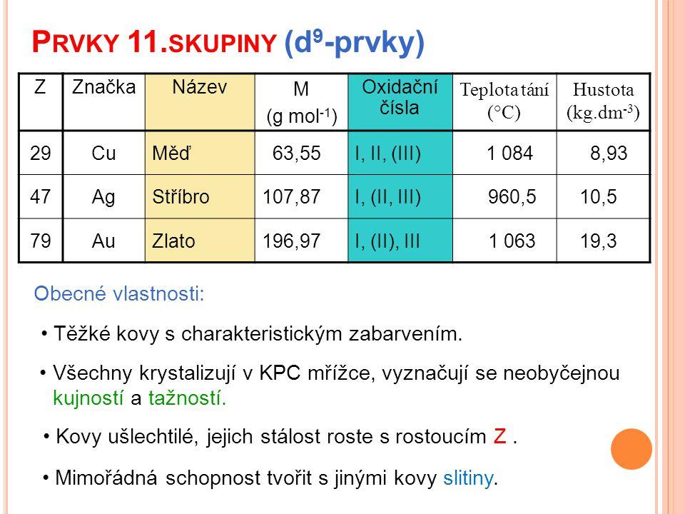 P RVKY 11. SKUPINY (d 9 -prvky) Obecné vlastnosti: Všechny krystalizují v KPC mřížce, vyznačují se neobyčejnou kujností a tažností. Těžké kovy s chara