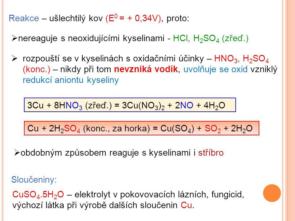 Sloučeniny: CuSO 4.5H 2 O – elektrolyt v pokovovacích lázních, fungicid, výchozí látka při výrobě dalších sloučenin Cu. Reakce – ušlechtilý kov (E 0 =