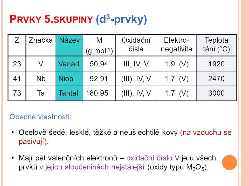 P RVKY 5. SKUPINY (d 3 -prvky) Obecné vlastnosti: Mají pět valenčních elektronů – oxidační číslo V je u všech prvků v jejich sloučeninách nejstálejší