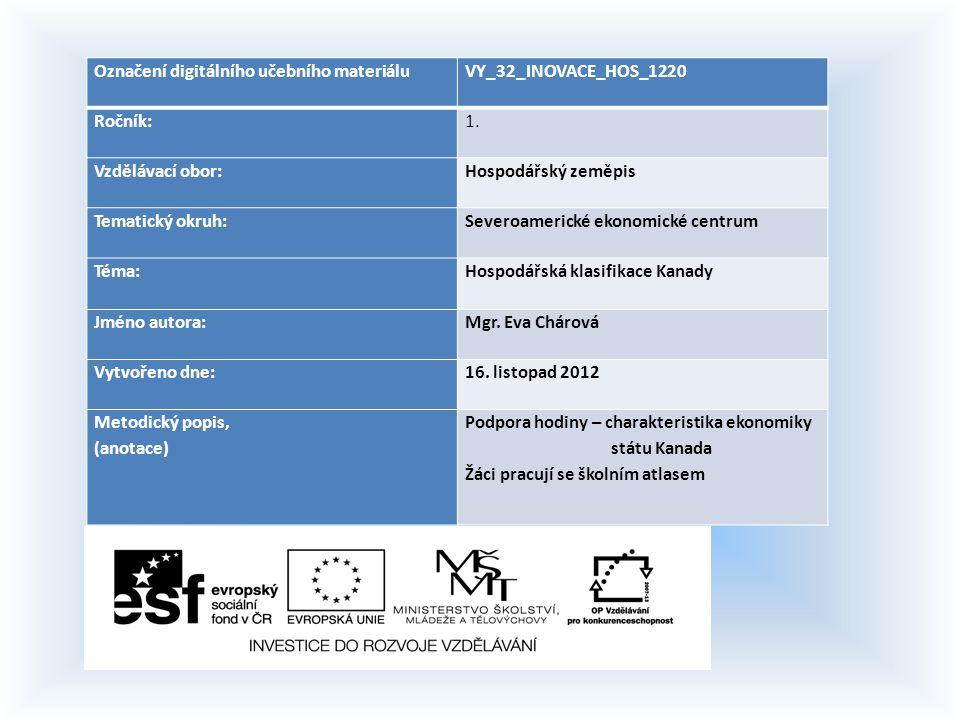 Označení digitálního učebního materiáluVY_32_INOVACE_HOS_1220 Ročník:1. Vzdělávací obor:Hospodářský zeměpis Tematický okruh:Severoamerické ekonomické
