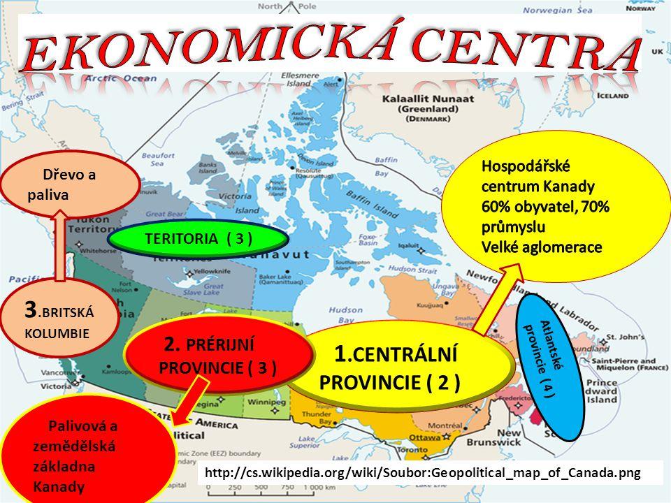 1.CENTRÁLNÍ PROVINCIE ( 2 ) 2. PRÉRIJNÍ PROVINCIE ( 3 ) Atlantské provincie ( 4 ) TERITORIA ( 3 ) http://cs.wikipedia.org/wiki/Soubor:Geopolitical_map