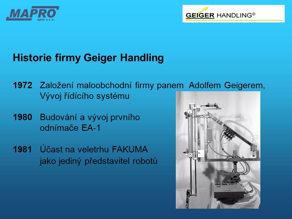 Historie firmy Geiger Handling 1972Založení maloobchodní firmy panem Adolfem Geigerem, Vývoj řídícího systému 1980Budování a vývoj prvního odnímače EA