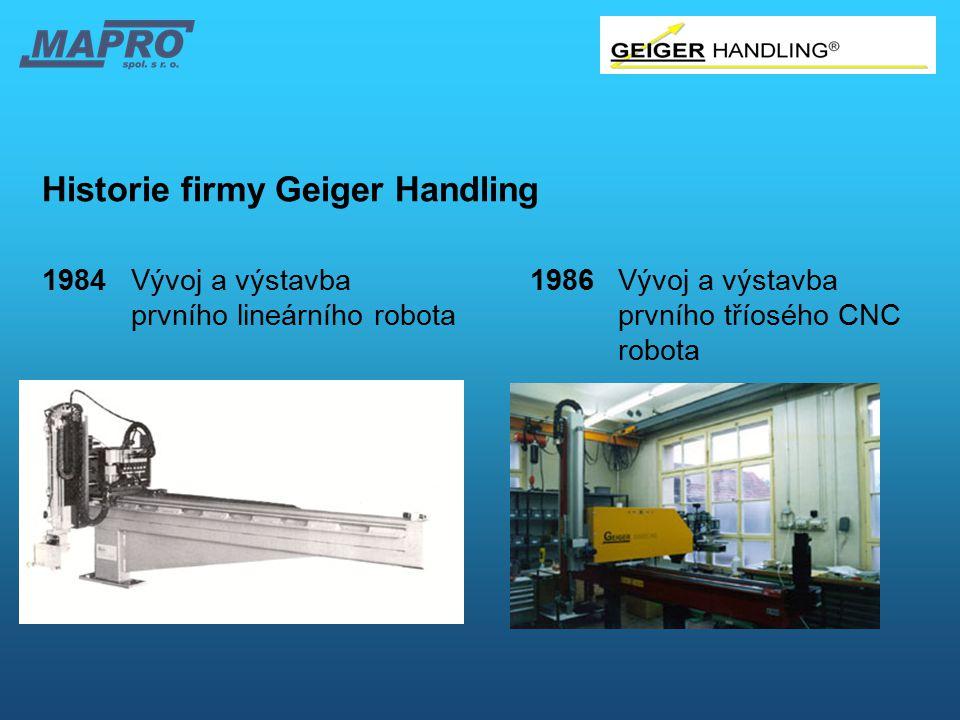 Historie firmy Geiger Handling 1984Vývoj a výstavba 1986Vývoj a výstavba prvního lineárního robotaprvního tříosého CNC robota