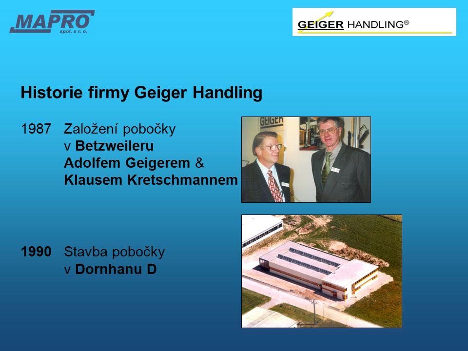 Historie firmy Geiger Handling 1987 Založení pobočky v Betzweileru Adolfem Geigerem & Klausem Kretschmannem 1990Stavba pobočky v Dornhanu D
