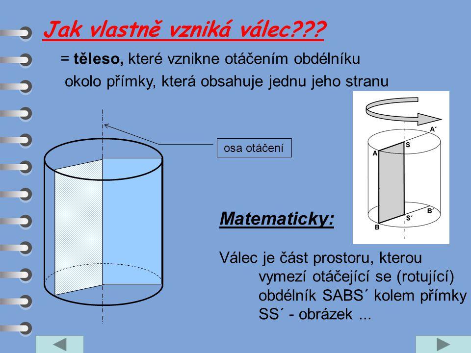 = těleso, které vznikne otáčením obdélníku okolo přímky, která obsahuje jednu jeho stranu osa otáčení Matematicky: Válec je část prostoru, kterou vyme