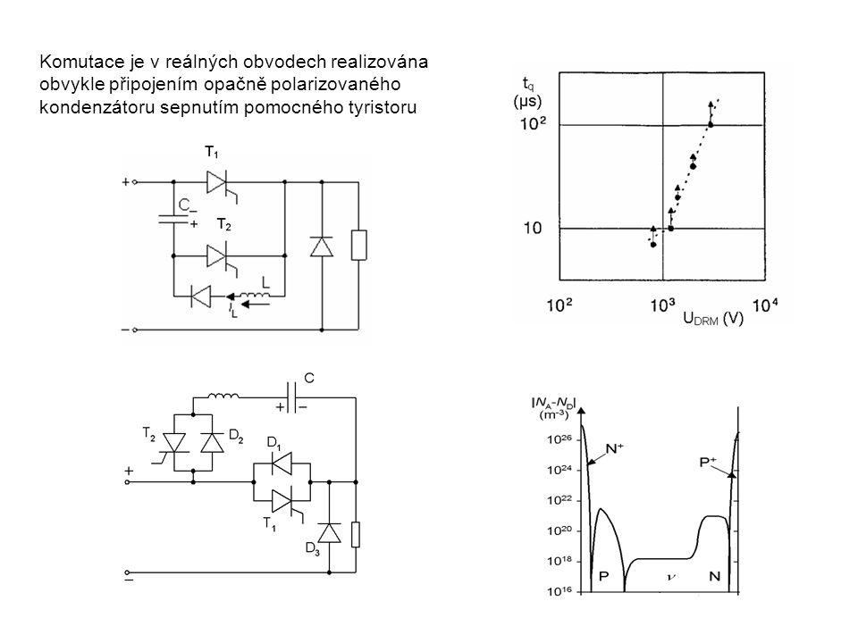 Komutace je v reálných obvodech realizována obvykle připojením opačně polarizovaného kondenzátoru sepnutím pomocného tyristoru