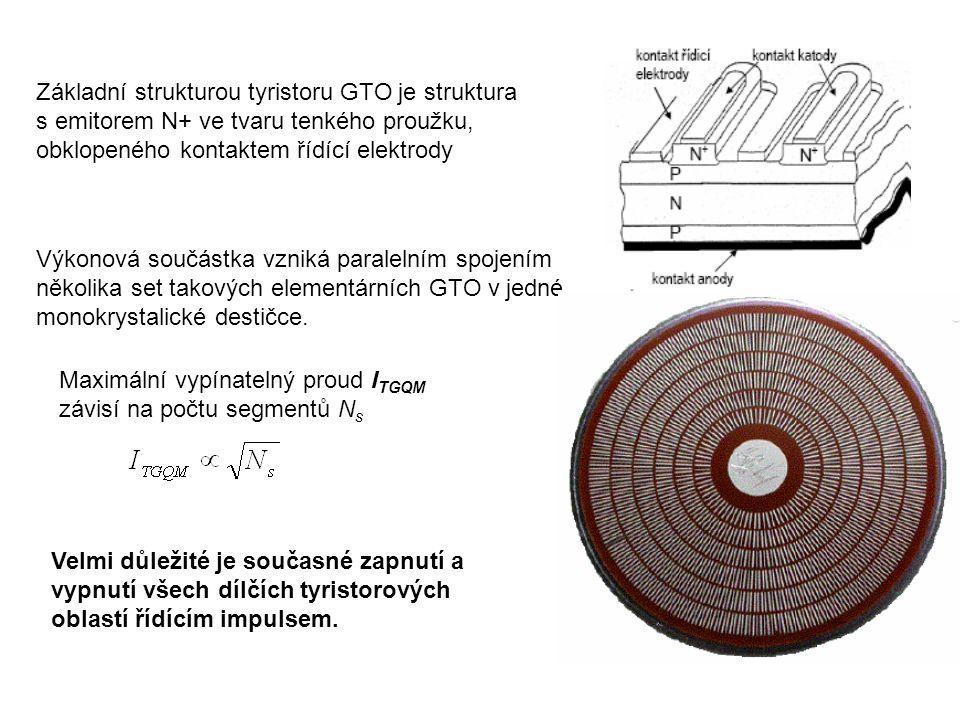 Základní strukturou tyristoru GTO je struktura s emitorem N+ ve tvaru tenkého proužku, obklopeného kontaktem řídící elektrody Výkonová součástka vznik