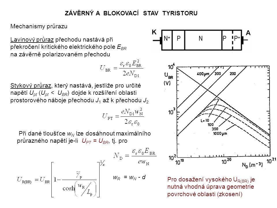 SPÍNÁNÍ TYRISTORU Pro jednoduché modelování procesu přechodu tranzistoru z blokovacího do propustného stavu se používá tzv.
