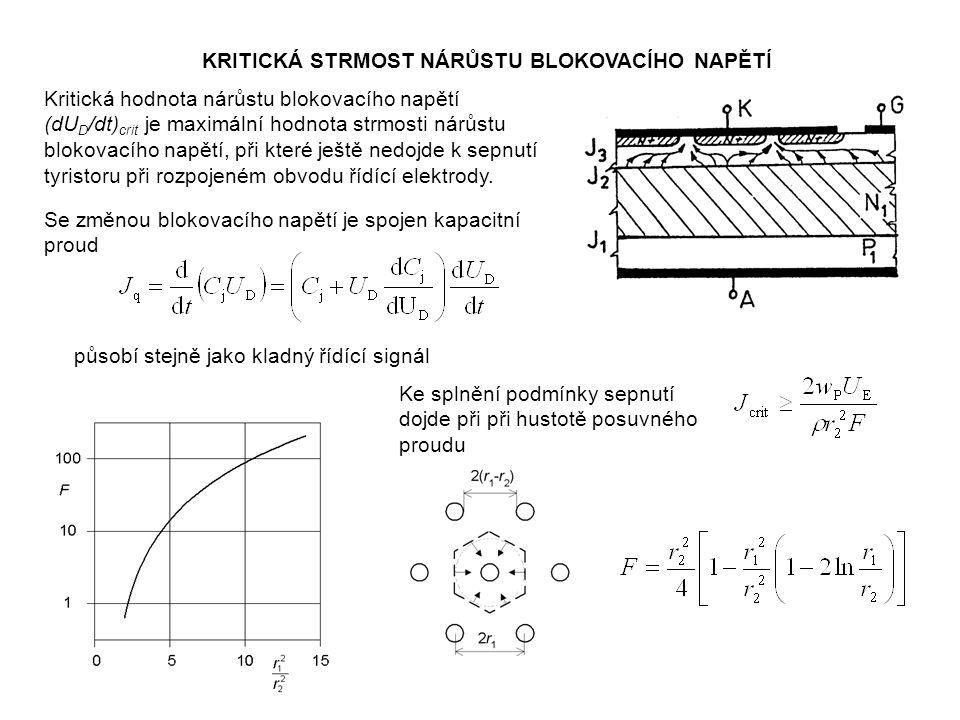 KRITICKÁ STRMOST NÁRŮSTU BLOKOVACÍHO NAPĚTÍ Kritická hodnota nárůstu blokovacího napětí (dU D /dt) crit je maximální hodnota strmosti nárůstu blokovac