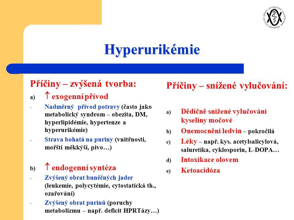 Hyperurikémie Příčiny – zvýšená tvorba: a)  exogenní přívod - Nadměrný přívod potravy (často jako metabolický syndrom – obezita, DM, hyperlipidémie,