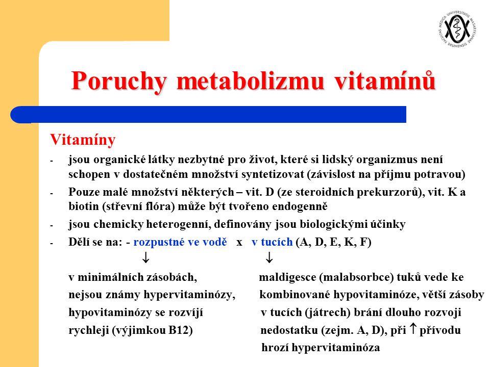 Poruchy metabolizmu vitamínů Vitamíny - jsou organické látky nezbytné pro život, které si lidský organizmus není schopen v dostatečném množství syntet