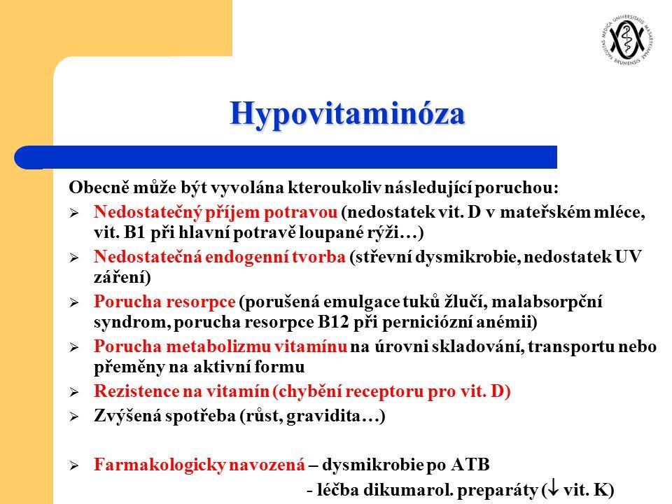 Hypovitaminóza Obecně může být vyvolána kteroukoliv následující poruchou:  Nedostatečný příjem potravou (nedostatek vit. D v mateřském mléce, vit. B1