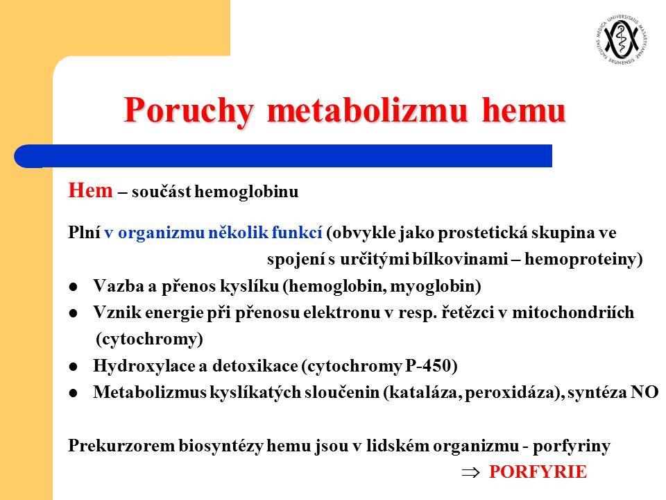 Poruchy metabolizmu hemu Hem – součást hemoglobinu Plní v organizmu několik funkcí (obvykle jako prostetická skupina ve spojení s určitými bílkovinami