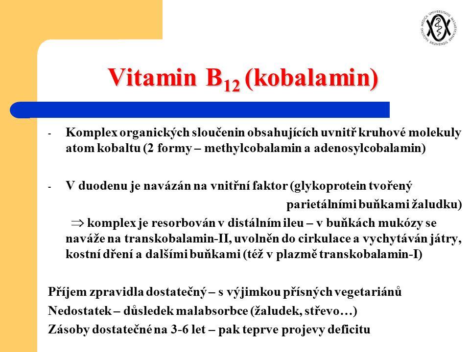 Vitamin B 12 (kobalamin) - Komplex organických sloučenin obsahujících uvnitř kruhové molekuly atom kobaltu (2 formy – methylcobalamin a adenosylcobala