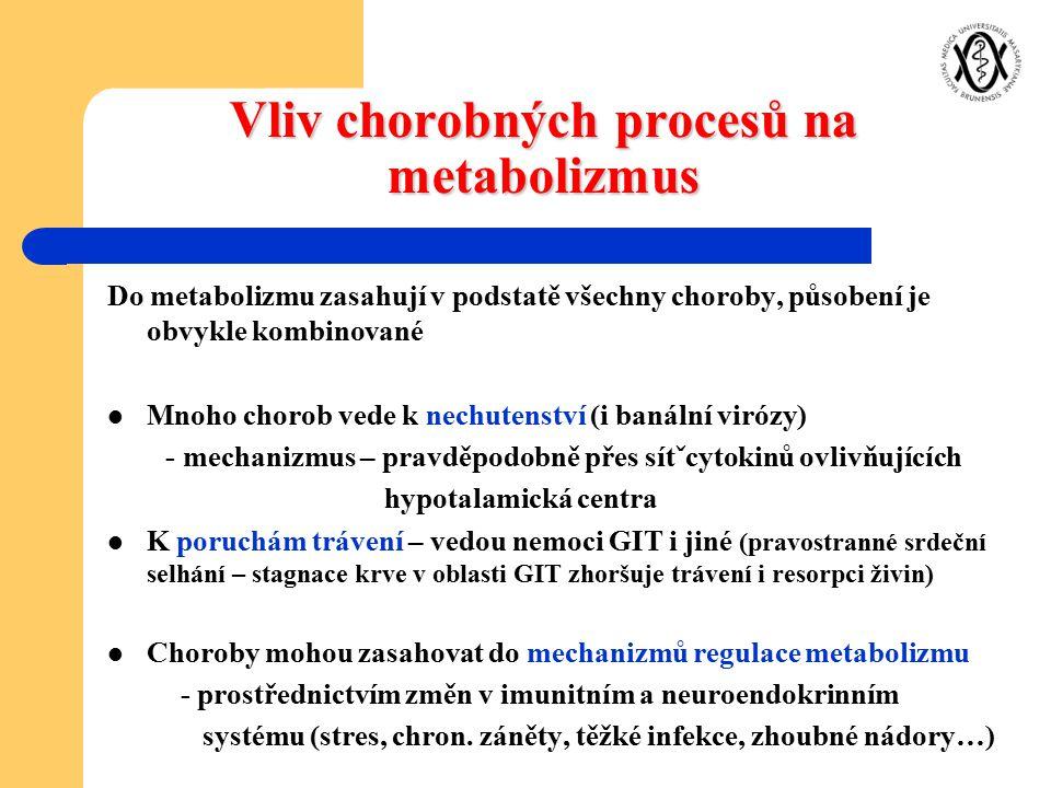 Vliv chorobných procesů na metabolizmus Do metabolizmu zasahují v podstatě všechny choroby, působení je obvykle kombinované Mnoho chorob vede k nechut