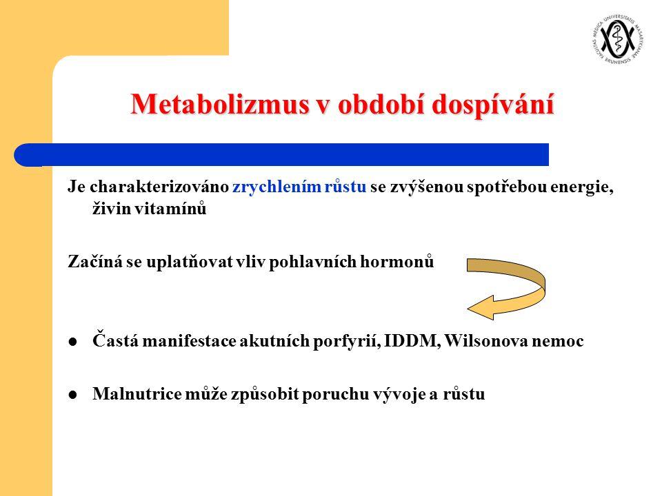 Metabolizmus v období dospívání Je charakterizováno zrychlením růstu se zvýšenou spotřebou energie, živin vitamínů Začíná se uplatňovat vliv pohlavníc