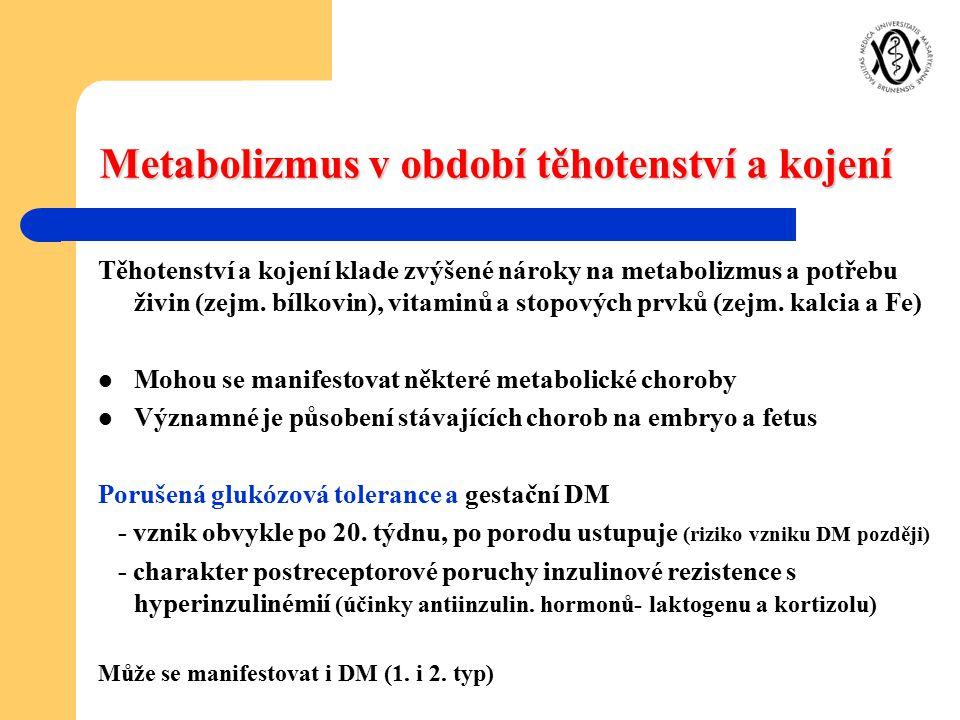 Metabolizmus v období těhotenství a kojení Těhotenství a kojení klade zvýšené nároky na metabolizmus a potřebu živin (zejm. bílkovin), vitaminů a stop