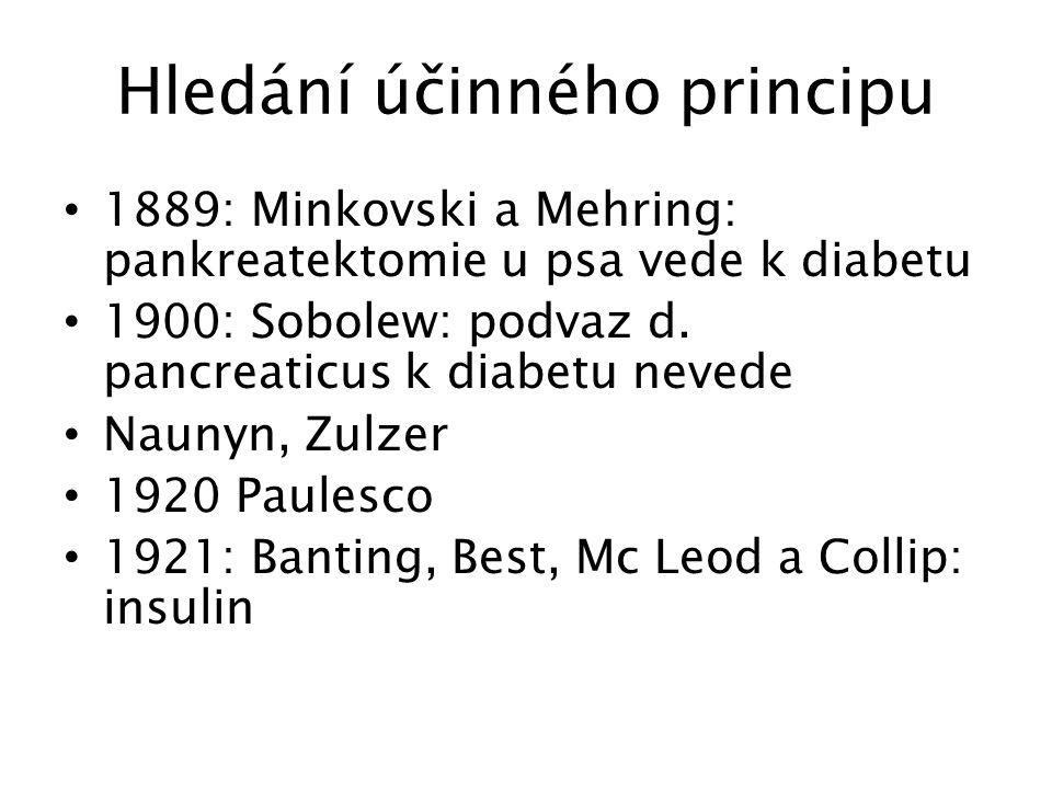 19. století: 1889 Pankreatektomie Joseph von Mering Oscar Minkowski Stručné dějiny diabetu
