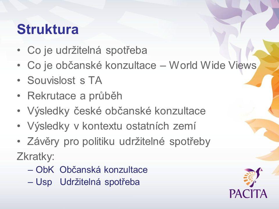 Struktura Co je udržitelná spotřeba Co je občanské konzultace – World Wide Views Souvislost s TA Rekrutace a průběh Výsledky české občanské konzultace