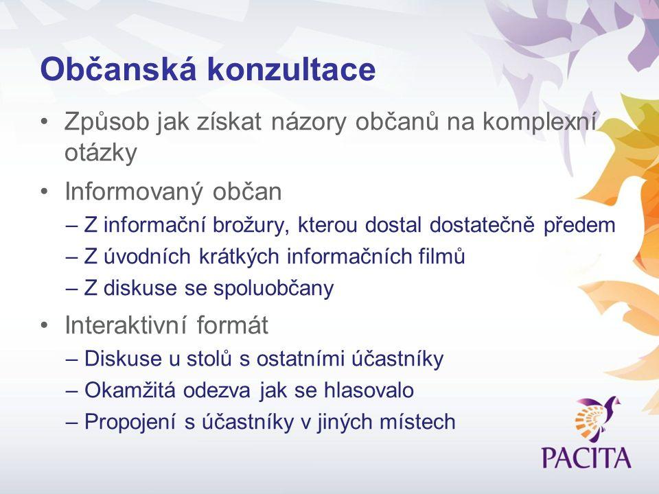 České výsledky v kontextu celé ObK U většiny otázek, názory českých účastníků blízko průměru EU V ČR větší váha zodpovědnosti položena na občanech než na veřejném sektoru, podobně v Rakousku, v kontrastu k ostatním.