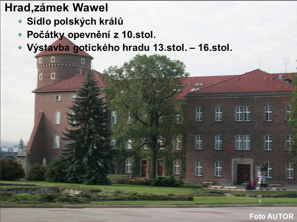 Hrad,zámek Wawel Sídlo polských králů Počátky opevnění z 10.stol. Výstavba gotického hradu 13.stol. – 16.stol. Foto AUTOR